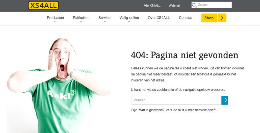XS4ALL 404 pagina niet gevonden