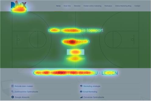 heatmap van webdesign om focuspunten visueel weer te geven